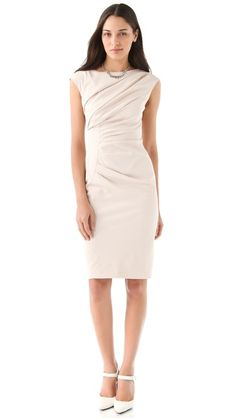 draped boat neck dress