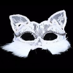 White//Black Color Lace Animal Masks Fox Halloween Party Mask Half Cat Face A2