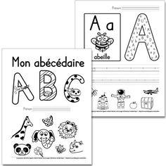 Fichier PDF téléchargeable En noir et blanc seulement 27 pages + feuille pour l'enseignant  Vous pouvez insérer cet abécédaire dans un duo-tang ou vous servir des fiches séparément. L'élève trouve les versions minuscule et majuscule de la lettre respective dans la grande lettre; il calligraphie la lettre sur les trottoirs et finalement, il encercle les dessins qui contiennent le son de la lettre. En cas de doute sur les images à encercler, consultez la feuille pour l'enseignant. Preschool Letters, Learning Letters, Alphabet Activities, Kindergarten Language Arts, Kindergarten Literacy, French Alphabet, French Kids, French Education, French Immersion