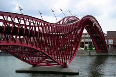 Modern 'Python Bridge' in Amsterdam's Eastern Harbor