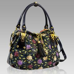 $1,144.00+-+Marino+Orlandi+Designer+Handpainted+Purple+Roses+Leather+Large+Satchel+[01MO4062HLBL]+:+Italian+Leather+Handbags,+Top+Rated+Designer+Hand+Bags,+Trendy+Designer+Handbags