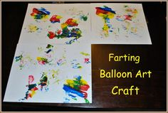 Farting Balloon art ! AWESOME.  So funny.  I'm excited to share this one.  They are going to love it. You could even pair this one with the the vinegar and baking soda balloon experiment.  (For more info on that Google: vinegar and baking soda blow up balloons)