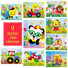9style Animal 3D EVA Self-adhesive Foam Sticker Puzzle Early Learning Education Toys for Children Kids Gift Handmade DIY Cartoon