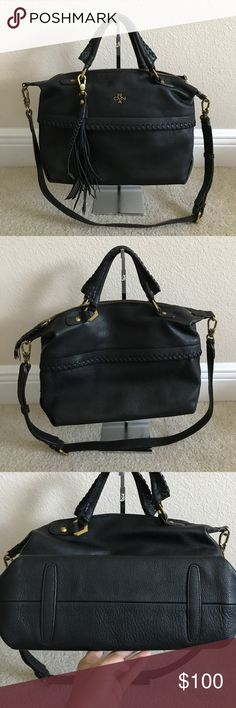 """orYANY Pebble Leather Convertible Satchel - Toni Preown in good condition. Back zipper missing zipper handle other than that in really good condition. Style: Toni Pebble leather body, front and back zip pockets, whipstitch detail on body and handles, detachable hanging tassel, adjustable/detachable shoulder strap, double handles, goldtone hardware Measures approximately 11-1/4""""W x 9""""H x 5""""D, with a 19-1/2"""" to 23-1/2"""" strap drop and a 5"""" handle drop; weighs approximately 1 lb Body 100%…"""