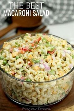 This Easy Macaroni Salad recipe is the perfect side dish to bring to Summer BBQ's, parties and more! Easy macaroni salad is loaded with veggies, cheese and more. You will love the creamy dressing. Easy Macaroni Salad, Elbow Macaroni Recipes, Classic Macaroni Salad, Simple Pasta Salad, Southern Macaroni Salad, Chicken Macaroni Salad, Healthy Pasta Salad, Macaroni Salad Recipe With Cheese, Pasta Salad With Feta
