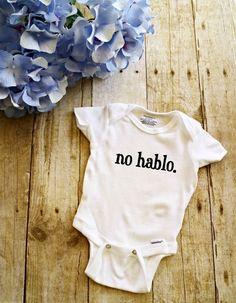 No hablo. Onesie // Spanish Onesie // Baby Onesie // Funny
