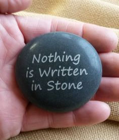 Nothing is Written in Stone. Etched Garden Stone. Inspirational Stone. Inspirational quote on Stone. Inspirational desk accessory by LoveRocksInc on Etsy