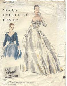 1954 Vintage VOGUE Sewing Pattern B32 DRESS EVENING GOWN BOLERO JACKET (1365) #Vogue