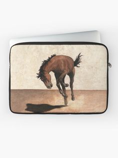 """Wild horse"" Laptop Sleeve by Savousepate on Redbubble #laptopsleeve #drawing #wildhorse #mustang #rodeo #kick #black #brown #beige"