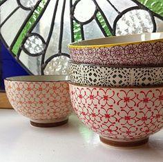 Set Of Four Patterned Porcelain Cereal Bowls - kitchen