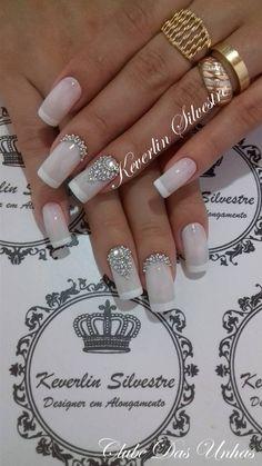 Bride Nails, Wedding Nails, Love Nails, Fun Nails, Grey Nail Designs, Flower Nail Art, Luxury Nails, Best Acrylic Nails, Bridal Hair And Makeup