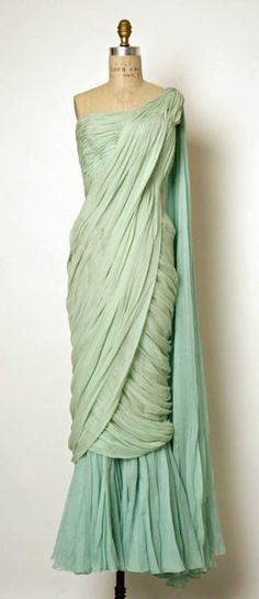 1950's teal evening gown