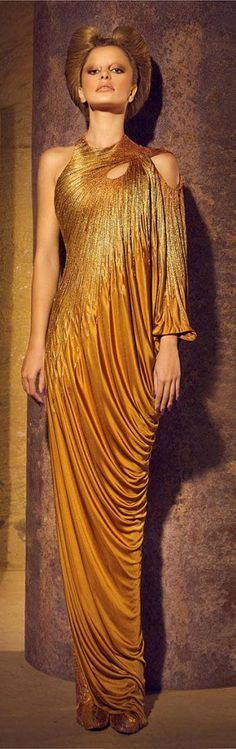 Nicolas Jebran 2012 *Gold Haute Couture* extra points for hair and clothes matching. One shoulder dress with trumpet sleeve and a jewel neckline. Beautiful Gowns, Beautiful Outfits, Beautiful Life, Gold Fashion, High Fashion, Costume Prince, Mode Glamour, Manish Arora, Gareth Pugh