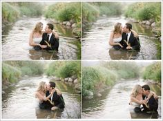 Trash the Dress, newest trend in wedding photography...after the brides special day they have a photoshoot trashing the dress essentially. Whether its in water, mud, leaves, sand, etc. Interesting idea...makes for some fun pictures to look at(: