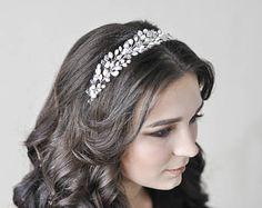 Freshwater pearl and crystal headpice (wreath) for bride. Wedding floral vine, bridal silver twig, wedding hairpiece pearl, quartz crystals