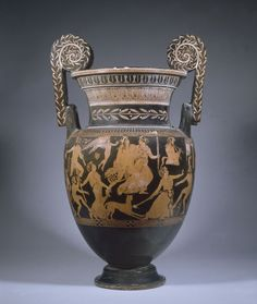Greek vase from about 400 B. provide important information about the origins of theater. Depicted on the vase is Dionysos, the Greek god of theater (and wine) , with cast members of a satyr play. Ancient Greek Art, Ancient Greece, Ancient History, Greek Artifacts, Ancient Artifacts, Greek Pottery, Pottery Art, Minoan, Historical Art