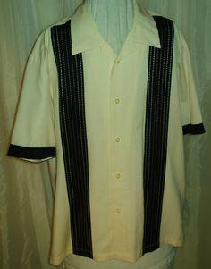 Retro 50s Style Black White Rayon Two Tone Lounge Bowling Rockabilly Mens Shirt