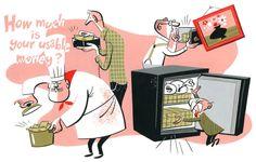 How much is your usable money ? : illustration by Satoshi Hashimoto www.dutchuncle.co.uk/satoshi-hashimoto Editorial, Simple Illustration, Typography Prints, Retro Art, Illustrations, Cartoon Styles, New Art, Character Art, Graphic Art