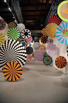 Pinwheel installation by Ara Peterson & Jim Drain at LA: AV club exhibition at the MOCA curated by Mike D. [via the avant grade diaries]