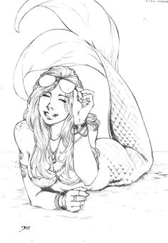 Mermaid by Deilson on DeviantArt Fantasy Mermaids, Real Mermaids, Mermaids And Mermen, Mermaid Sketch, Mermaid Drawings, Mermaid Tattoo Designs, Mermaid Tattoos, Octopus Tattoos, Fantasy Kunst