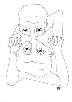 Cuerpo - Espejo: Dibujo tinta china - Body - Mirror: Chinese (Indian) ink drawing