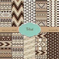 Tribal Digital Paper: Tribal Patterns neutral by Lunabludesign