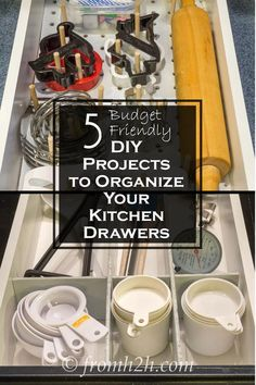 5 DIY Projects to Organize Your Kitchen Drawers | Want to get your kitchen organized without spending a lot of money? Try out these 5 DIY Projects to organize your kitchen drawers.