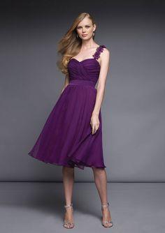 A-line/Princess One-shoulder Sweetheart Knee-length Chiffon Bridesmaid Dresses