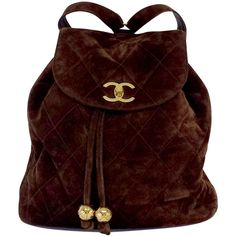 Pre-owned Chanel Vintage Brown Quilted Suede Backpack ($1,875) ❤ liked on Polyvore featuring bags and backpacks