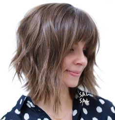 Brown Choppy Angled Bob