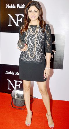 Shamita Shetty looked lovely in a net dress and black skirt at Ritesh Sidhwani's bash. #Bollywood #Fashion #Style #Beauty