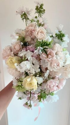 Pink Bouquet, Bridesmaid Bouquet, Wedding Bouquets, Pink Peonies, Yellow Roses, Pink Roses, Exotic Flowers, Purple Flowers, Fresh Flowers