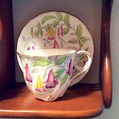 "Vintage Teacup and Saucer by Royal Stafford Bone China in the ""Fuchsia"" pattern. Offered by HappyLilac on ETSY, $29.00"