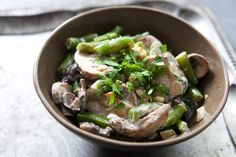 Creamy Green Beans and Mushrooms ~ Green beans, lightly boiled, then tossed with sautéed mushrooms and onions, held together with sour cream sauce. ~ SimplyRecipes.com