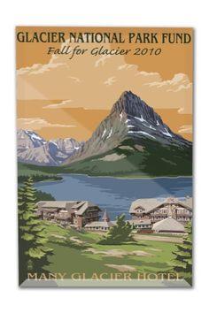 Glacier National Park Fund - Many Glacier Hotel - Lantern Press Artwork (8x12 Acrylic Photo Block Gallery Quality), Multi