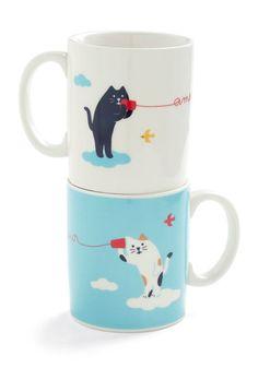 Mew and Me Mug Set. I need new (cute) mugs! Vintage Kitchen, Retro Vintage, Japanese Gifts, Cat Mug, I Love Coffee, Mugs Set, Dorm Decorations, Mug Cup, Crazy Cats