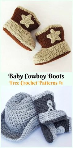 Baby Cowboy Boots Crochet Free Pattern - Ankle High Baby Free Patterns Crochet Ankle High Baby Booties Free Patterns with Instructions: Keep baby feet in style and warmth with these baby booties/boots, holiday gift ideas. Crochet Cowboy Boots, Booties Crochet, Hat Crochet, Cowboy Baby, Boy Crochet Patterns, Baby Boy Knitting Patterns Free, Crochet Ideas, Baby Boy Booties, Baby Shoes