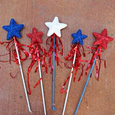 Glittery 4th of July Craft Wands
