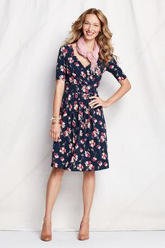 Women's Elbow Sleeve Pattern Cotton Modal Fit and Flare Dress from Lands' End