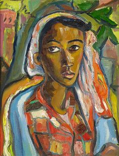 Irma Stern: Portrait of a Malay woman, oil on canvas, 66 x 52 cm, Black Women Art, Black Art, Contemporary African Art, South African Artists, Art Station, Wow Art, Art Pictures, Nature Pictures, Artist Art