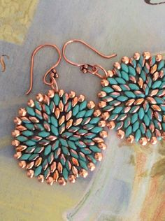 Turquoise and Copper Seed Bead Earrings Big Bold by WorkofHeart