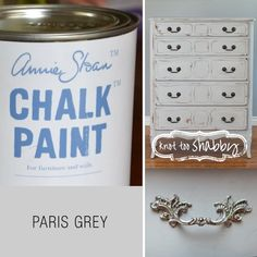 Paris Grey Chalk Paint® | This is a soft and slightly bluish grey, and is the colour most associated with painted furniture in an elegant French chateau and of an old Swedish manor house.   It works like a dream with Old White of course but it looks great distressed over the lavender blue of Old Violet and one of our other favourites is Paris Grey over Cream or for something a little stronger try it over Arles! Add a touch of gilding, and the look is complete.