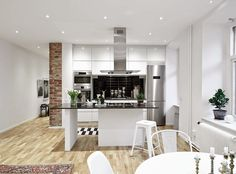 Kitchen with island | Swedish loft / Blog La petite fabrique de rêves