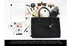 What to Pack: Essentials for your Work Bag // laptop // roller perfume //make-up // sunglasses // keys // sunblock // wallet // business cards // flats // phone & headphones // breath mints // pen & paper // portable charger // work bag