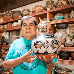 Robert Tenorio(b.1950) of Santo Domingo (Kewa Pueblo) is one of the foremost Pueblo potters working today and has played an extremely important role in reviving and bringing attention to the legacy of Santo Domingo pottery. He first learned the fundamentals of working with clay at the age of ten from family members, including his grandmother Andrea Ortiz. Today he is known for his polychrome pots created in the traditional Santo Domingo style...