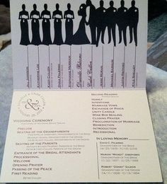 ~ I like this wedding program, because  you can even go as far as pasting 'face' pictures of each member of the bridal party - so that everybody knows who's who. You can even replace the 'heads' with a caricature of each member for a fun and comic look