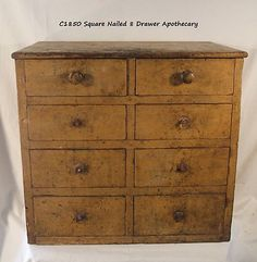 Early Sq Nailed 8 Drawer Apothecary.
