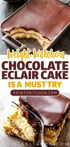 Easy NO Bake Weight Watchers Chocolate Eclair Cake! Tasty Weight Watchers dessert you WILL NOT want to pass up! This Chocolate Eclair Cake has all of the great flavors of an éclair. Creamy and delicious layers of goodness. Weight Watchers Cake, Weigt Watchers, Plats Weight Watchers, Weight Watchers Desserts, Ww Desserts, Healthy Desserts, Dessert Recipes, Eclair Cake Recipes, Light Desserts