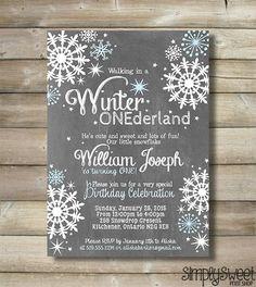 Winter ONEderland Invite Invitation Boy by SimplySweetPrintShop