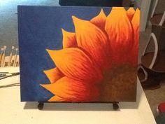 Original Acrylic Painting Sunset Sunflower by HandmadeHeartDesigns